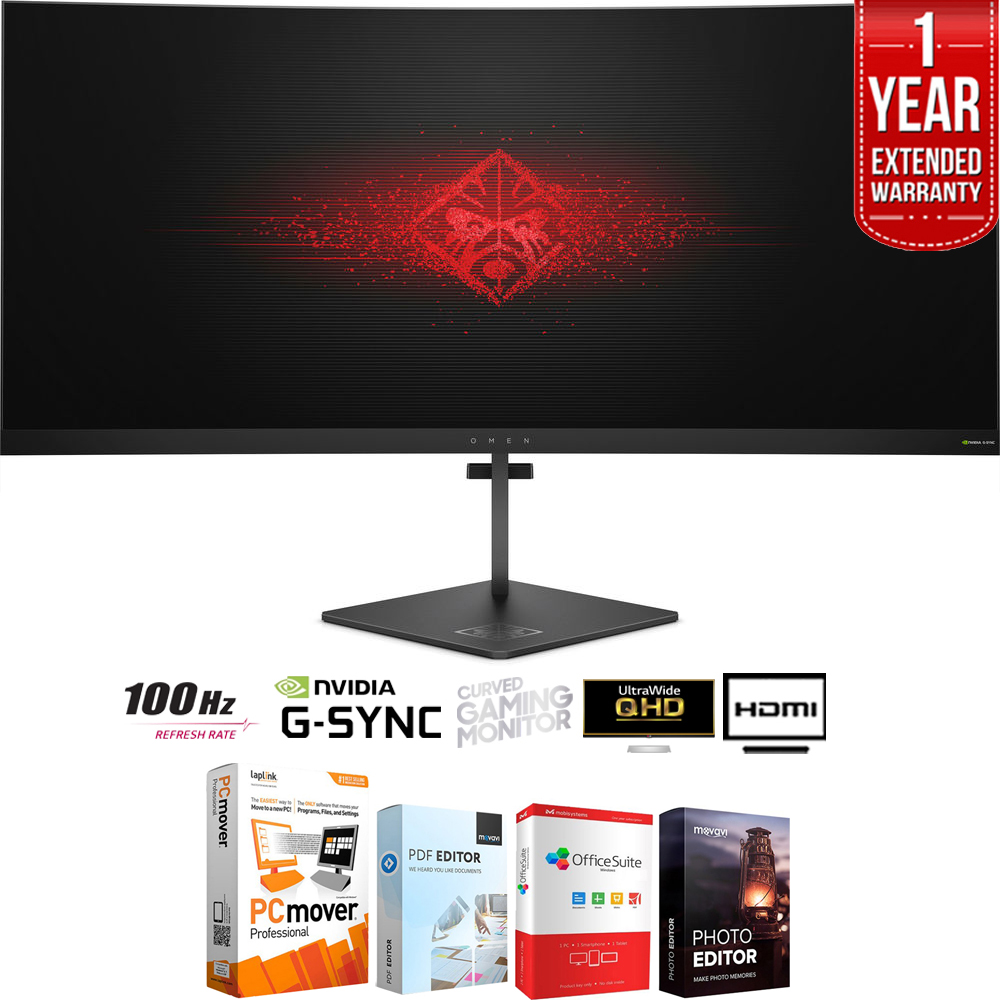 HP OMEN X 35-inch 21:9 Ultra WQHD Curved Gaming Monitor 3440x1440 NVIDIA G-SYNC + Elite Suite 18 Standard Editing Software Bundle + 1 Year Extended Warranty