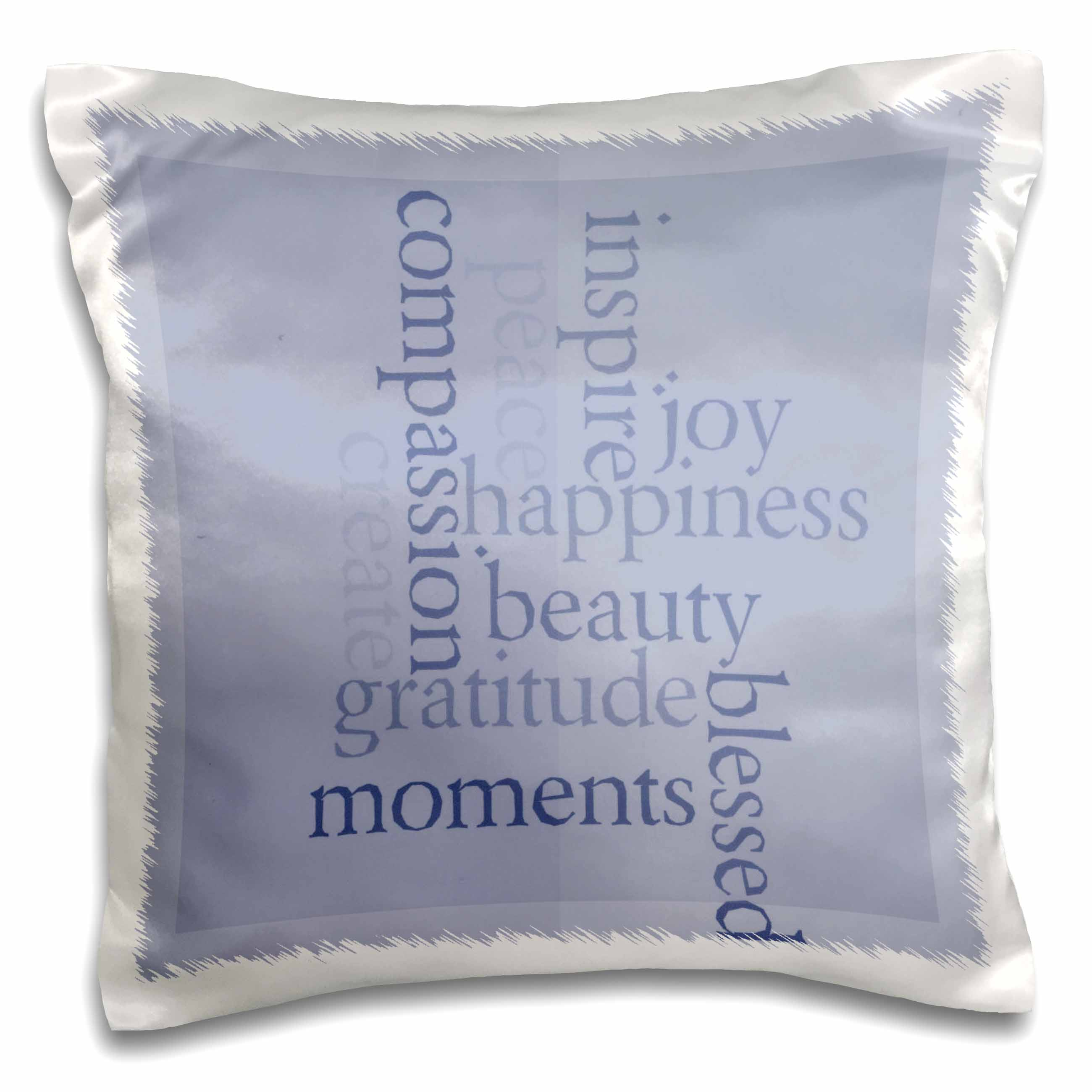 3dRose Inspire Happiness and Gratitude Blue- Inspirational Words- Motivational, Pillow Case, 16 by 16-inch