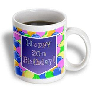 3dRose Balloons with Purple Banner Happy 20th Birthday, Ceramic Mug, 11-ounce