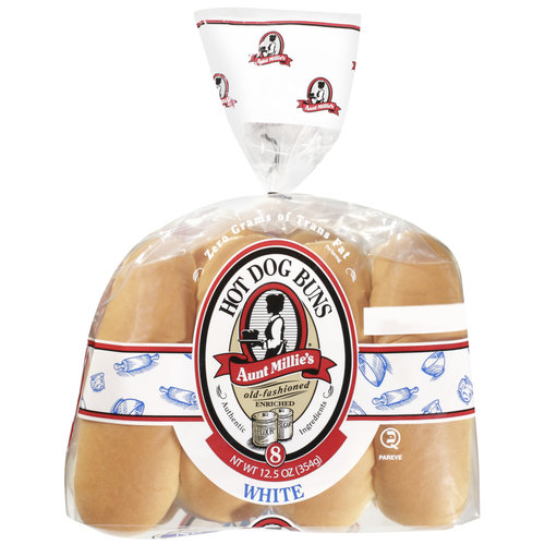 Aunt Millie's Old Fashioned White Hot Dog Buns, 8ct