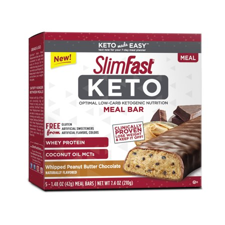 SlimFast Keto Meal Replacement Bar, Whipped Peanut Butter Chocolate, 1.48oz., Pack of (Best Chocolate Peanut Butter Bars)