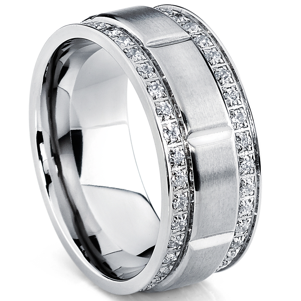 9MM Men's Titanium Wedding Band Ring with Double Row Cubic Zirconia, Comfort Fit