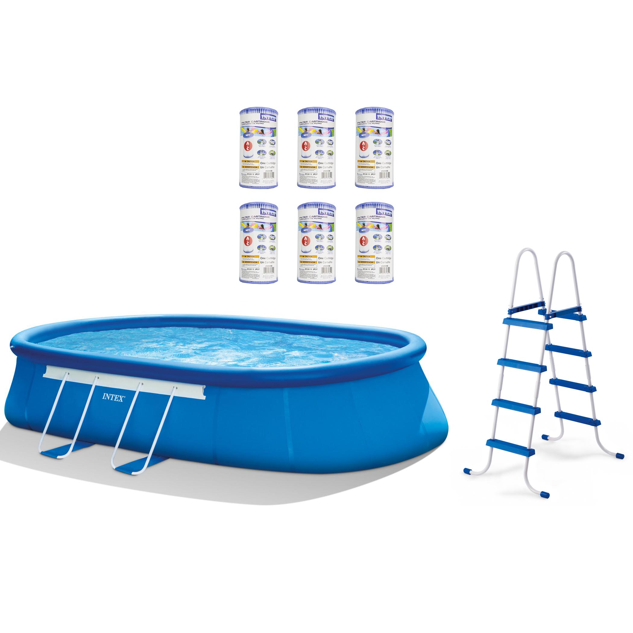 "Intex 20' x 12' x 48"" Oval Frame Above Ground Pool Set + Filter Cartridges (6) by Intex"