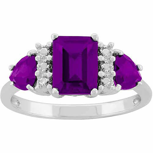 Amethyst Sterling Silver Side Trillions and Emerald-Cut Center Three-Stone Ring