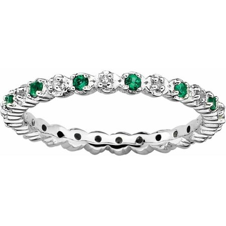 Sterling Silver Stackable Expressions Cr. Emerald & Diamond Ring