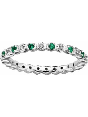 Sterling Silver Cr. Emerald & Diamond Ring