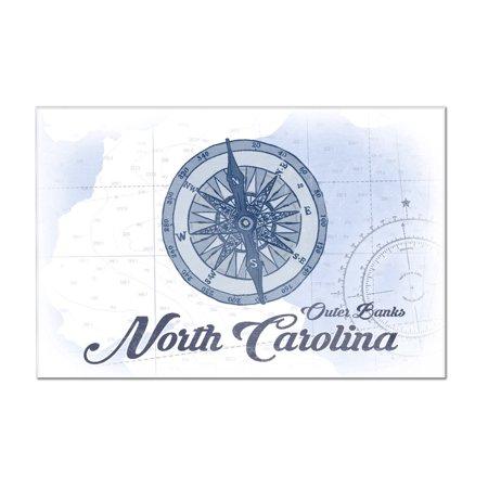 Outer Banks  North Carolina   Compass   Blue   Coastal Icon   Lantern Press Artwork  12X8 Acrylic Wall Art Gallery Quality