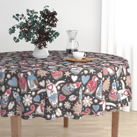 Round Tablecloth Biscuits Chocolate Christmas Snowflakes Penguin Cotton Sateen