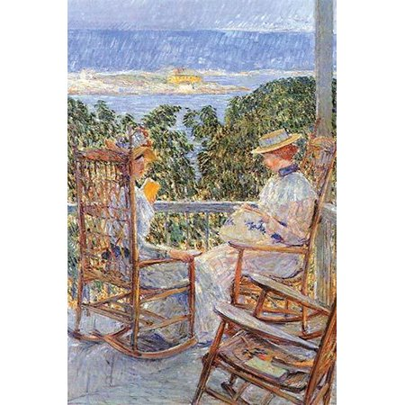 Women in a Porch sitting on Rockers one reads the other sews Poster Print by Frederick Childe Hassam