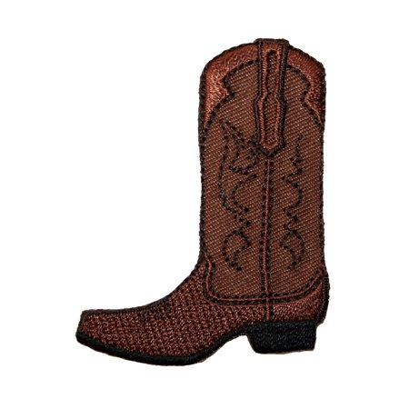 ID 1348 Leather Cowboy Boot Patch Western Work Embroidered Iron On - Boot Patch