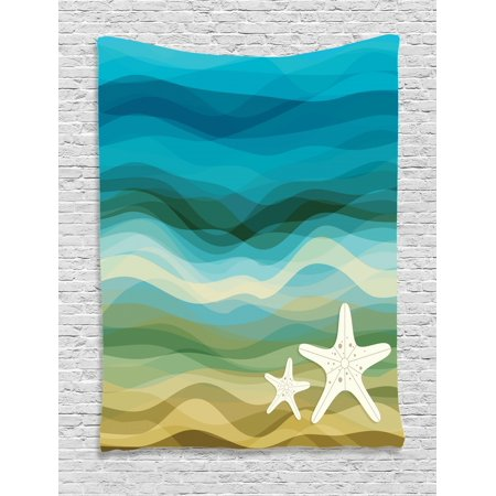 Abstract Tapestry, Abstract Design Modern Illustration of Waves Starfish Sandy Beach Aquatic Theme, Wall Hanging for Bedroom Living Room Dorm Decor, Blue Beige, by Ambesonne - Beach Themed Classroom