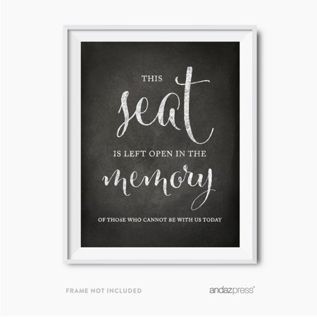 This Seat Is Left Open Memorial Vintage Chalkboard Wedding Party Signs