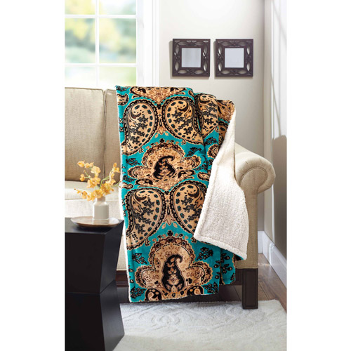 "Better Homes and Gardens 50"" x 60"" Throw, Teal Paisley"