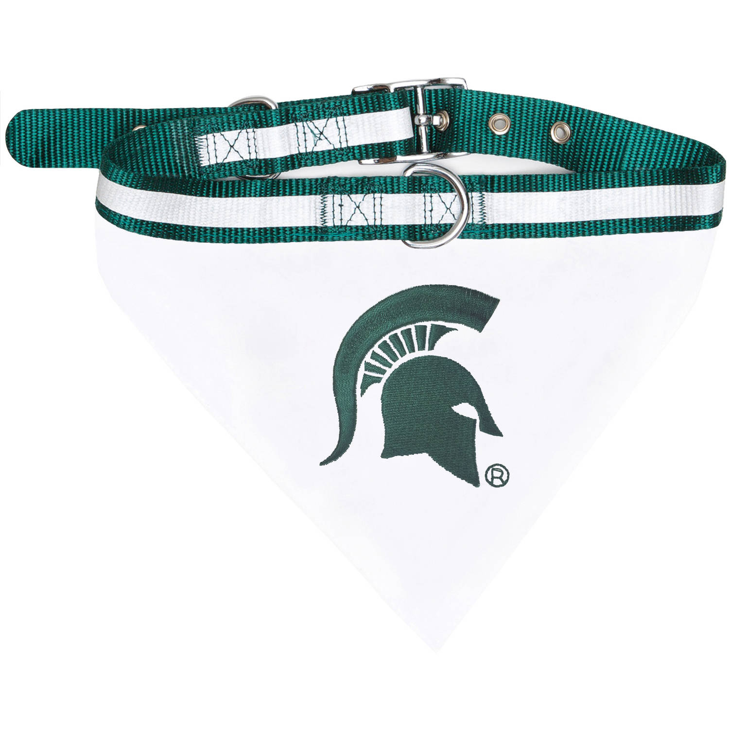 Pets First College Michigan State Spartans Pet Bandana, 3 Sizes Available. With Collar