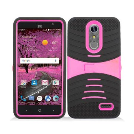 Phone Case For Zte Blade Spark 4G At T Prepaid Smartphone  Zte Grand X4  Cricket Wireless  Case  Hard Armor Cover Case With Kickstand  Pink