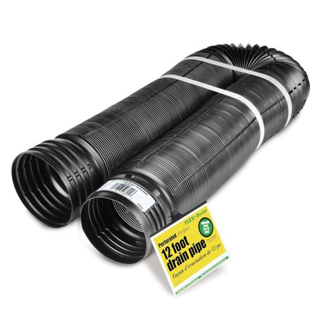 18 Inch Drain Pipe - Perforated Corrugated Expandable Flexible Landscape Drain Pipe, 4-Inch by 12-Feet