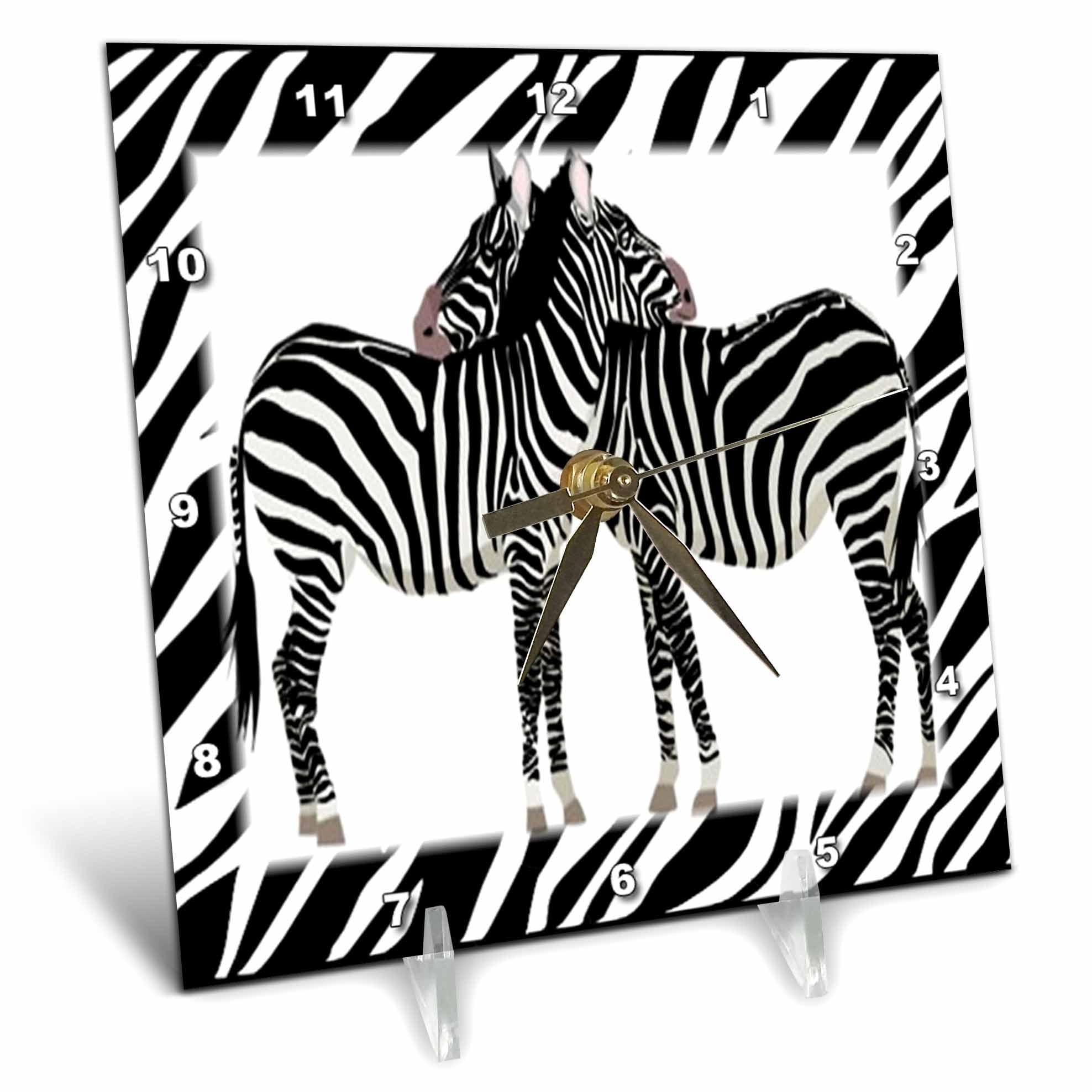 3dRose 2 Zebras Hug With Zebra Frame, Desk Clock, 6 by 6-inch by 3dRose
