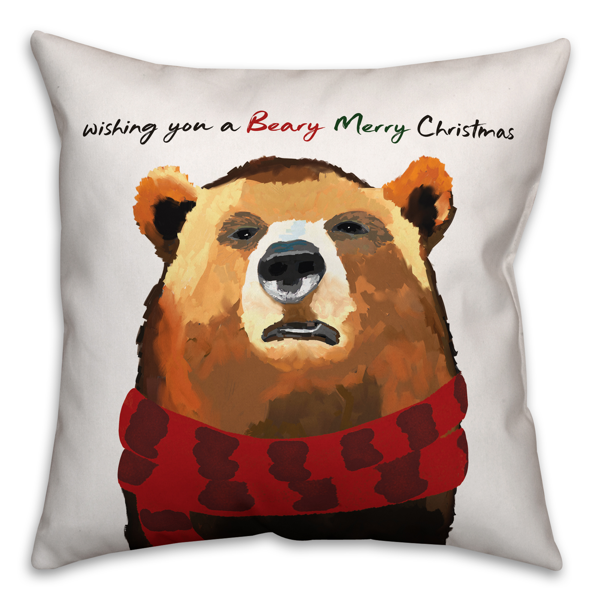 Beary Merry Christmas 16x16 Spun Poly Pillow Cover