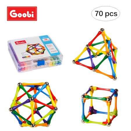 Goobi 70 Piece Magnetic Construction Set with Instruction Booklet | STEM Learning | Assorted Colors