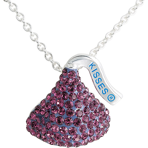 "Hershey Kiss Purple Crystal Pendant Silver Tone w/18"" chain. GIFT BOX"