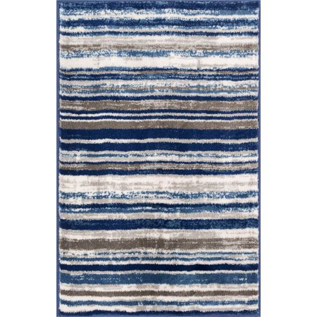 - Well Woven Riviera Stripe  Modern Geometric Abstract Shabby Chic Area Rug Neutral Thick Soft Plush Shed Free