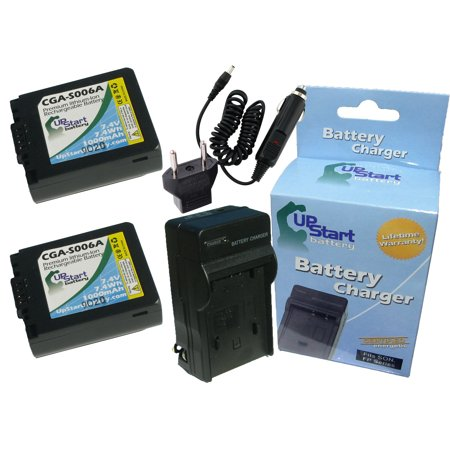 2x Pack - Panasonic Lumix DMC-FZ18 Battery + Charger with Car & EU Adapters - Replacement for Panasonic CGR-S006 Digital Camera Battery and Charger (1000mAh, 7.4V, Lithium-Ion)