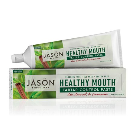 (2 pack) JASON Healthy Mouth Tartar Control Flouride-Free Toothpaste, Tee Tree Oil & Cinnamon, 4.2 oz. (Packaging May Vary)