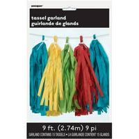Tissue Paper Tassel Garland, 9 ft, Multicolor, 1ct