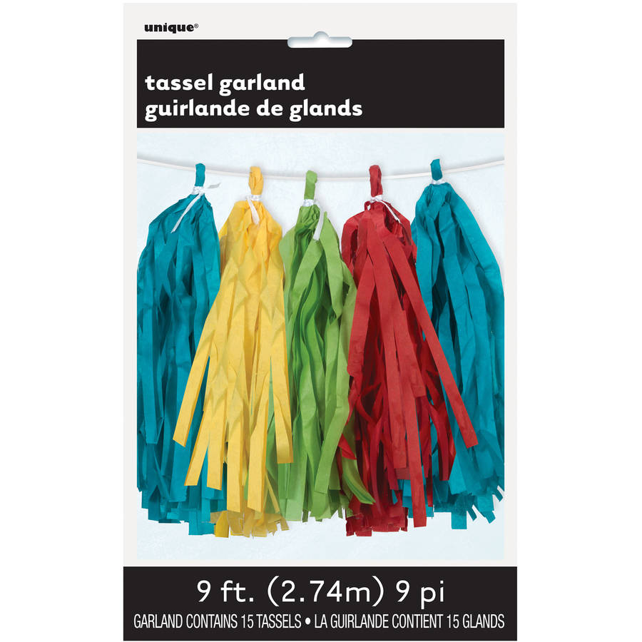 Tissue Paper Tassel Garland, 9 ft, Multicolor, 1ct