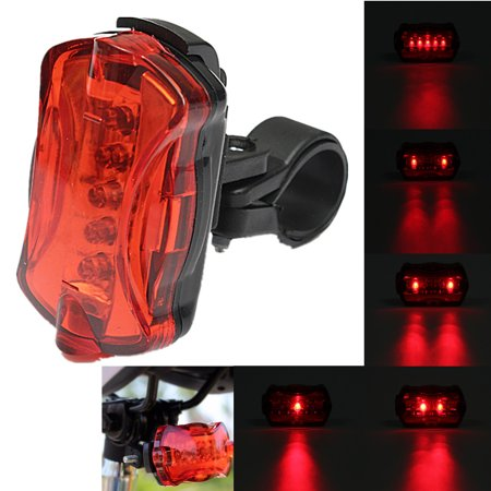 Bike Tail Light - 5 LED Bicycle Rear Light Warning Signal Safety Lamp for Lane Safety for Cycling Riding
