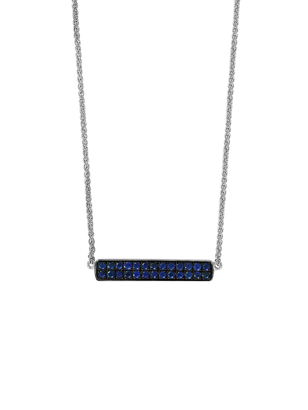 Sterling Silver & Sapphire Bar Pendant Necklace