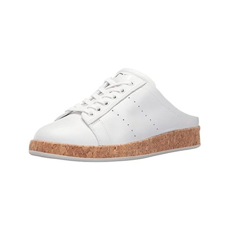 Marc Fisher Womens Rissa Leather Cork Fashion Sneakers White 8.5 Medium (B,M) (Women Nike White Sneakers)