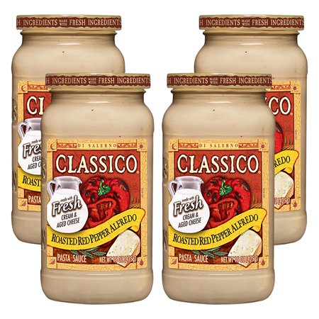 (4 Pack) Classico Roasted Red Pepper Alfredo Pasta Sauce, 15 oz