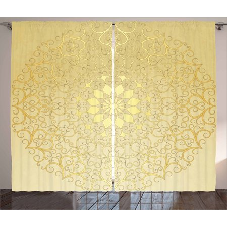 Gold Mandala Curtains 2 Panels Set, Round Antique Motif Curvy Stylized Ornate Heart Shape Arabesque Influences, Window Drapes for Living Room Bedroom, 108W X 63L Inches, Pale Yellow, by Ambesonne ()