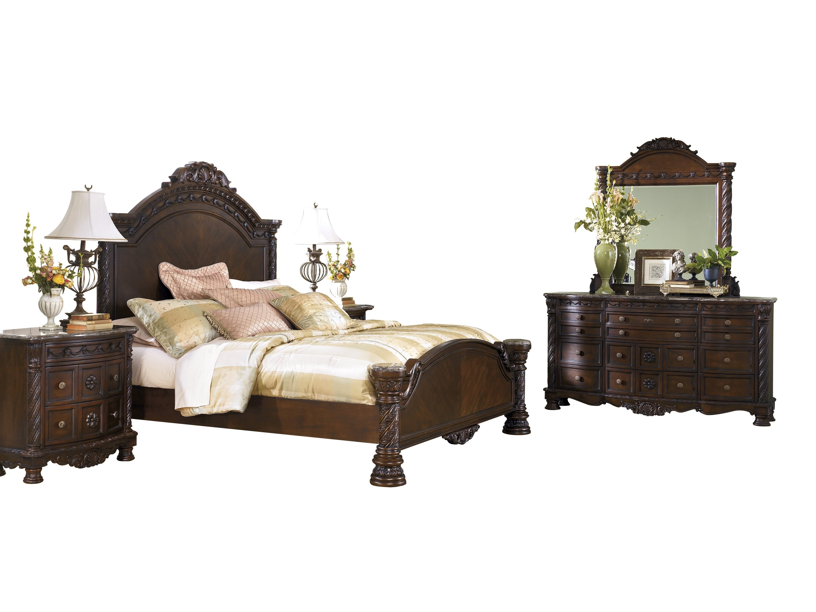 Ashley Furniture North Shore 5 Pc Bedroom Set E King Panel Bed Dresser Mirror 1 Nightstand Chest Dark Brown