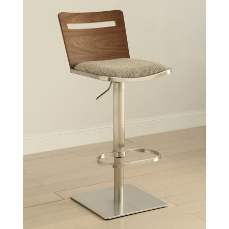 Image of AC Pacific Armless Contemporary Low Wooden Back Adjustable Swivel Stainless Steel Barstool