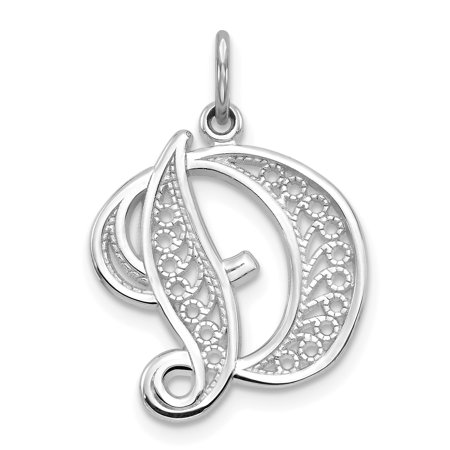 Solid White Letters (14kt White Gold Solid Filigree Initial Monogram Name Letter D Pendant Charm Necklace Fine Jewelry Ideal Gifts For Women Gift Set From)