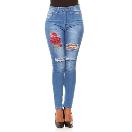 VIP Jeans for women | Ripped and Distressed High Waisted Slim Fit Skinny Stretchy jeans with Flower Embroidery | Junior sizes stylish colors and washes