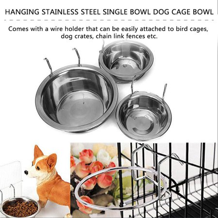 Stainless Steel Hanging Bowl Feeding Bowl Pet Bird Dog Food Water Cage Cup - image 8 de 12