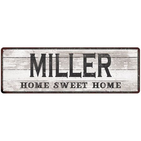 MILLER Home Sweet Home Country Look Gloss Metal Sign 6x18 Distressed Shabby Chic Décor, Home, Game Room G61801570 ()