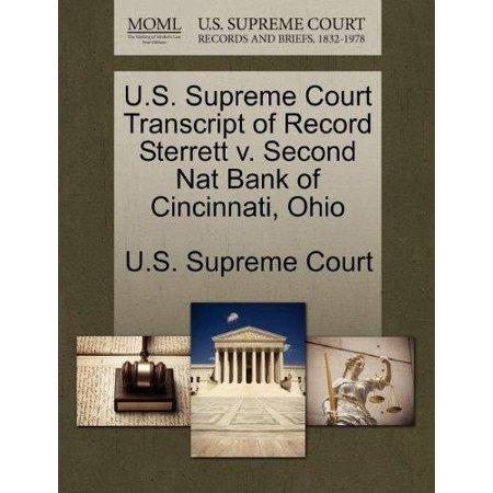 U S  Supreme Court Transcript Of Record Sterrett V  Second Nat Bank Of Cincinnati  Ohio