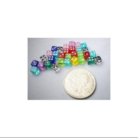 Koplow Games 30 Six Sided D6 5mm .197 Inch Transparent Die Tiny Mini MultiColored Clear Dice #10796](Clear Dice)
