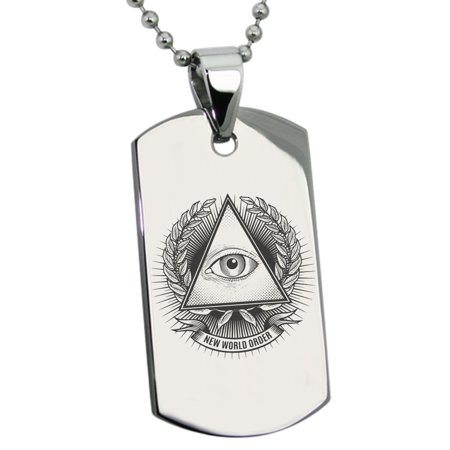 Stainless Steel All Seeing Eye New World Order Symbols Engraved Dog
