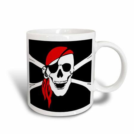 3dRose Pirate Skull and Cross Bones - Art - Black Flag, Ceramic Mug, 15-ounce - Pirate Mug