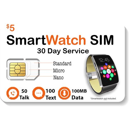 $5 Smart Watch SIM Card For 2G 3G 4G LTE GSM Smartwatches and Wearables - 30 Day Service - USA Canada & Mexico Roaming ()