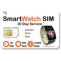 $5 Smart Watch SIM Card For 2G 3G 4G LTE GSM Smartwatches and Wearables - 30 Day Service - USA Canada & Mexico Roaming