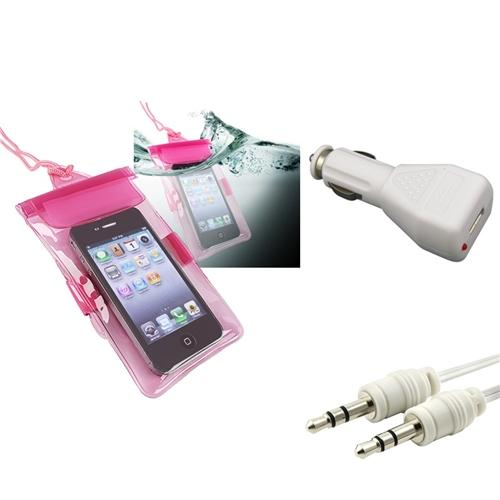 Insten Pink Waterproof Bag Case+3.5mm Cable Kit for Samsung Galaxy S3 III Mini Apple iPhone 4S 4 4GS iPod Touch 4th