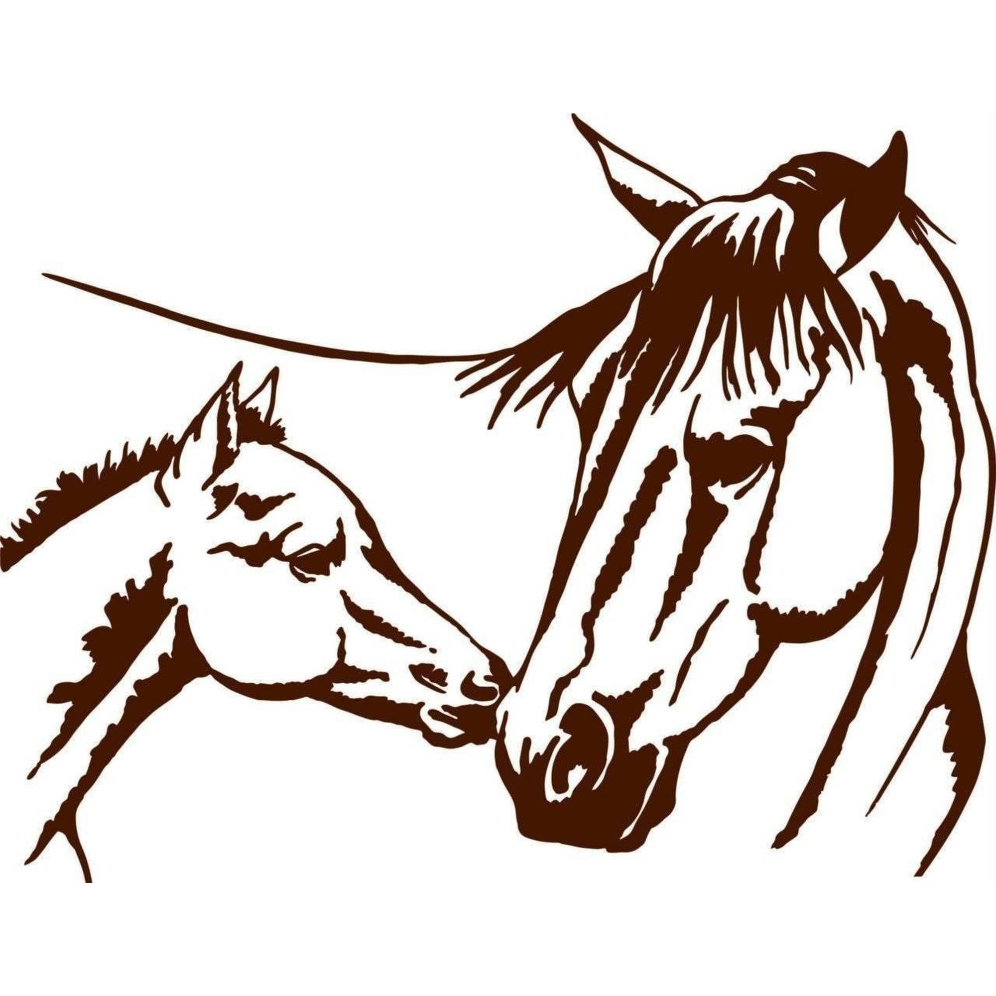 """Horse And Baby Animal Picture Art Vinyl Wall Decal, 15"""" x 20"""", Brown"""