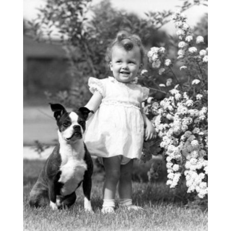 Baby girl with dog in garden Canvas Art - (18 x 24)
