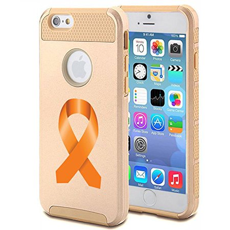 For Apple (iPhone 8) Shockproof Impact Hard Soft Case Cover Leukemia Cancer Multiple Sclerosis Kidney Cancer Color Awareness Ribbon - Leukemia Awareness Color
